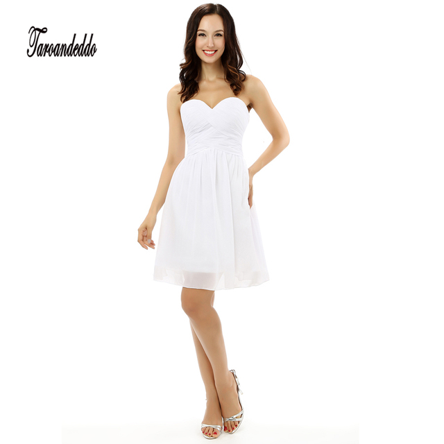Strapless Crisscross Ruched Bodice White Chiffon Short Bridesmaid Dresses Under 50usd