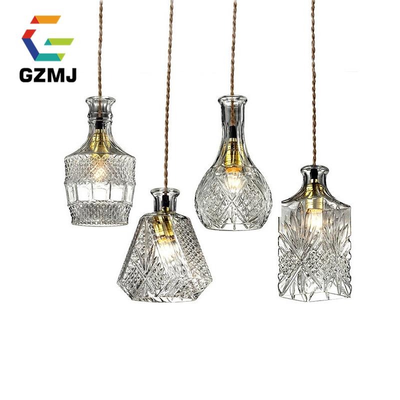 Retro Indoor Lighting Vintage Pendant Light LED Lights Carved Bottle Glass Lampshade Warehouse Style Light Fixtures 1 Piece,E27 quick install 75w warehouse pendant led lighting with dlc listed