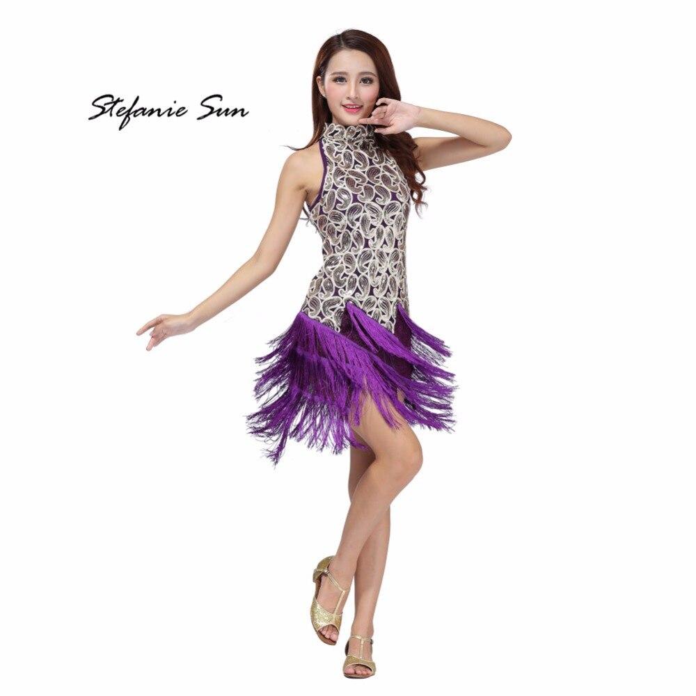 Sequin Latin Tango Samba Ballroom Salsa Dance Dress Fringes Tassels Dresses