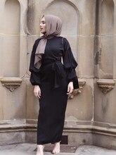 Arab Women Chiffon Abaya Muslim Women Puff Sleeve Kaftan Dresses Plus Size