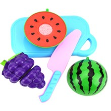 Fun Preschool Children Plastic Cutting Vegetables Fruits Baby Early Educational Kitchen Toys Pretend Food Playset