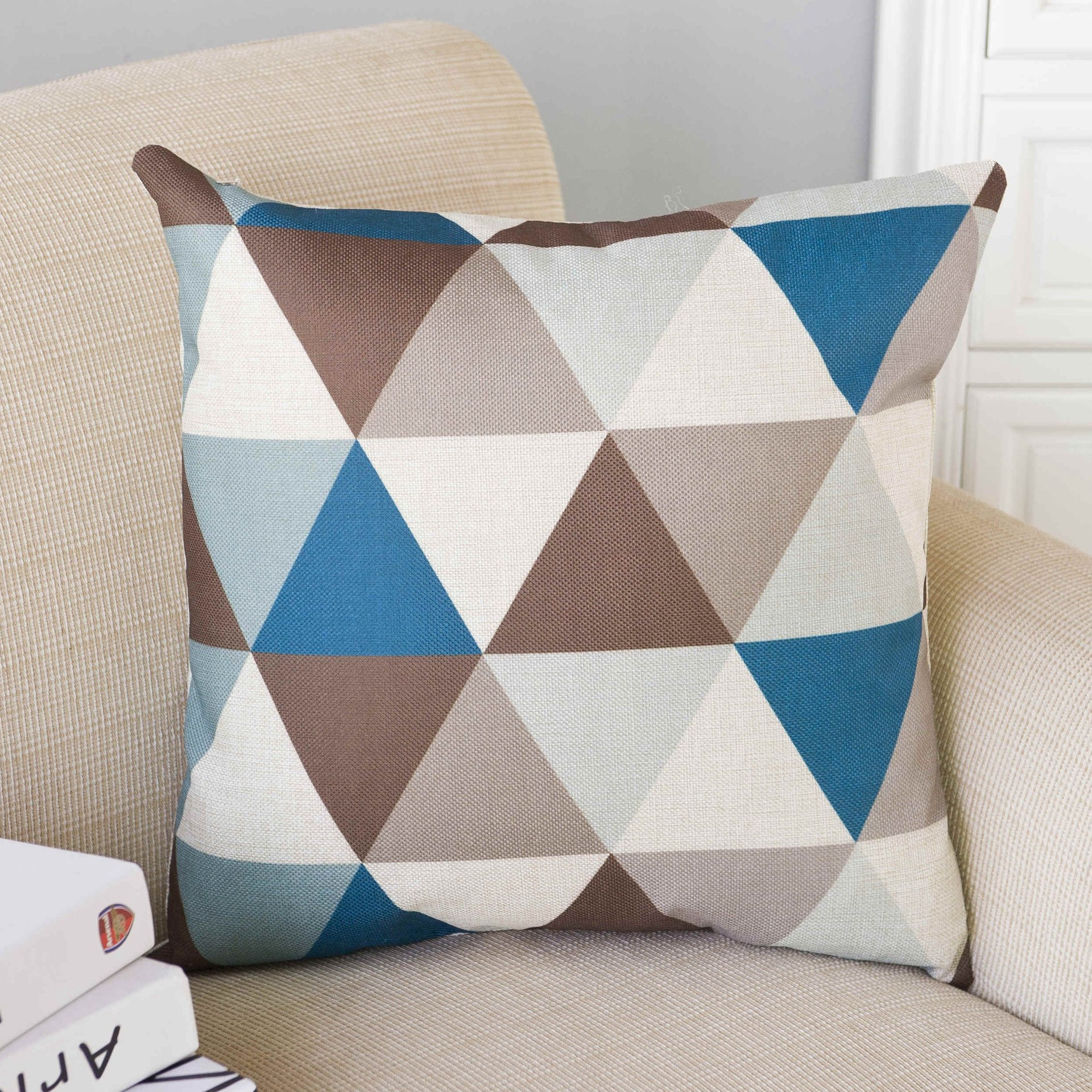 Colourful Geometry Printed Cotton Linen Pillowcase Decorative Pillows Cushion Use for Home Sofa Car Office Back Cushion Cover