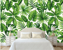 beibehang Modern Classic Simple Fresh Rainforest Plant Banana Leaf Pastoral Wall paper Background papel de parede wallpaper