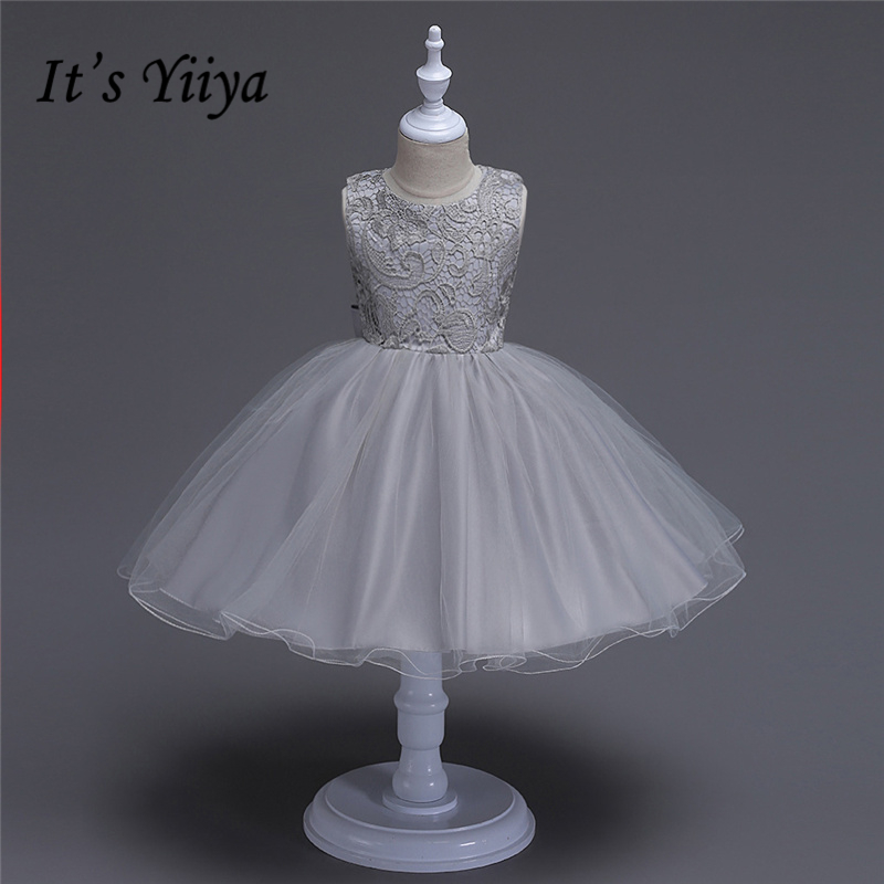 It's YiiYa Gray Champagne Sleeveless O-Neck Bow Special Scoop Backless Pattern Appliques Kids Princess   Flower     Girls     Dress   TS155