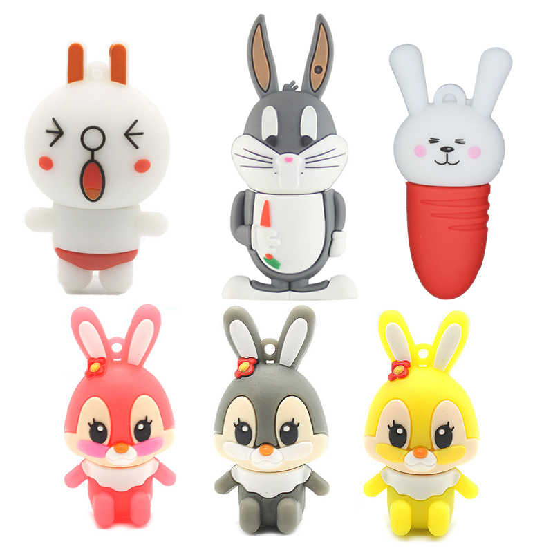 Funny USB Flash Drives 16GB Anime Cute Rabbit Bunny Pendrive 64GB Personalized Cartoon 32GB Pen Drive 4GB 8GB U Disk Girl Gifts