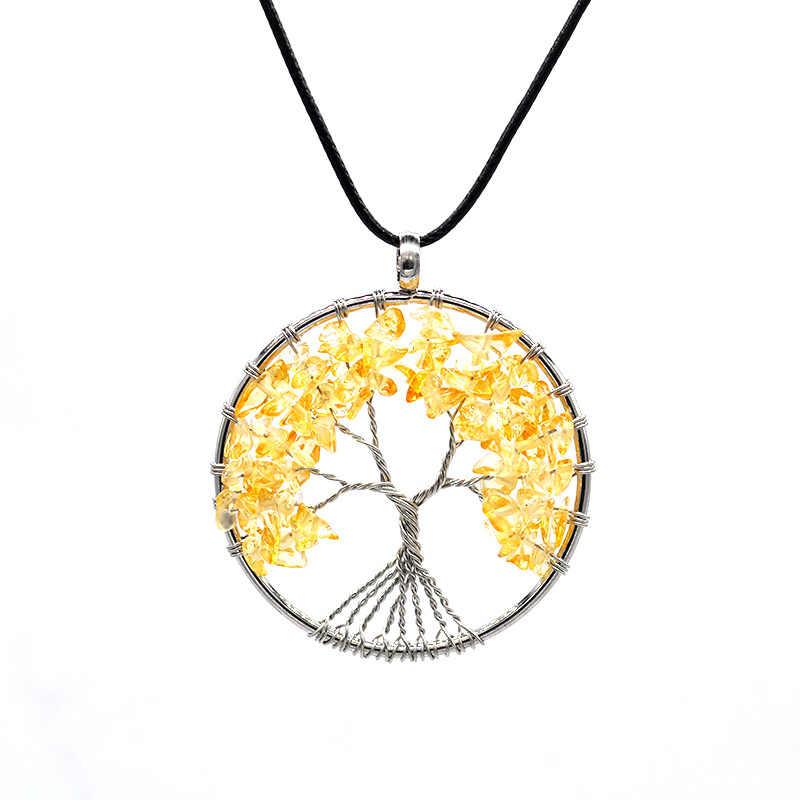 Naturalny kryształowy żwir drzewo życia życzenie naszyjnik w kształcie drzewa okrągły kryształowy naszyjnik w kształcie drzewa