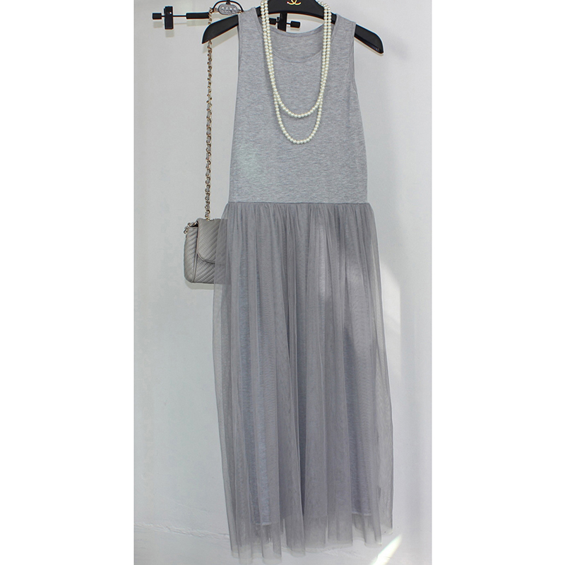 Fondo del tanque de moda de verano largo tul vestidos de verano de estilo coreano blanco dress mujeres sweet pink delgado ocasional vestidos de princesa