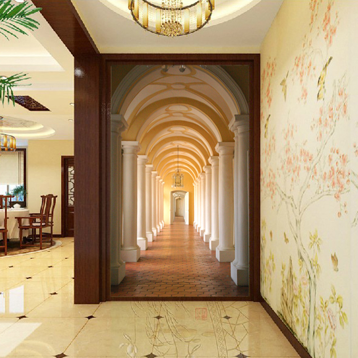 Papier peint mural d'entrée de papier peint de mode en trois dimensions 3d le papier peint de fond de salon