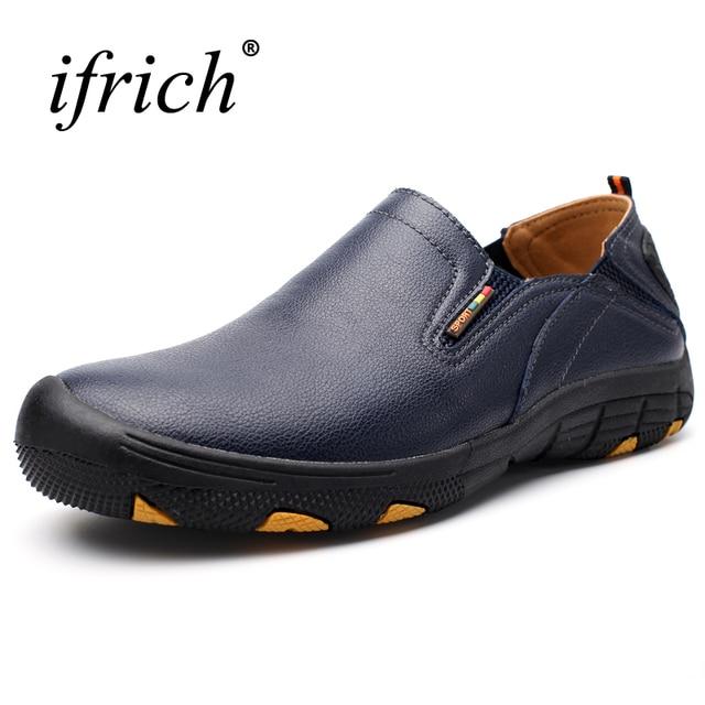 2019 новые кожаные уличные прогулочные туфли для мужчин без шнуровки горные походные туфли черные Трекинговые кроссовки мужские походные туфли