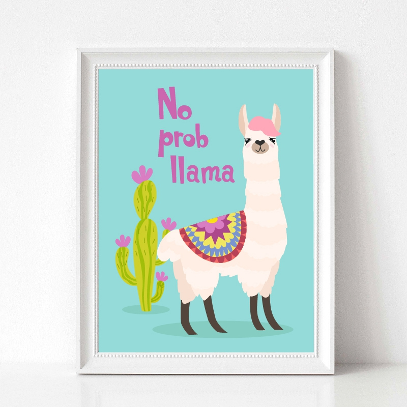 llama with ornament design and cactus wall art prints
