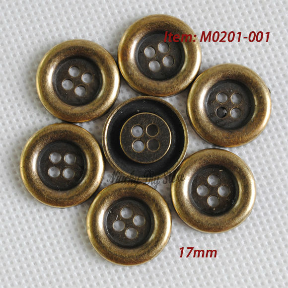 17mm metal coat buttons 4 eye bronze buttons clasp fahion shirt coat or  jean buttons