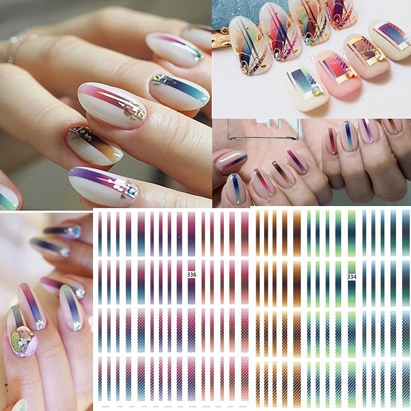 1 folha gradiente prego striping fita linhas coloridas 3d unha polonês adesivos unhas adesivas tiras diy para decorações da arte do prego