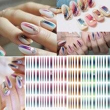 1 feuille dégradé rayé coloré lignes 3D Nail Art autocollant adhésif Striping décalcomanie bricolage ongles accessoires pour décorations pour ongles