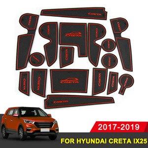 Для hyundai creta ix25 2017-2019 резиновый коврик для двери Противоскользящий коврик для чашки аксессуар для украшения салона Стайлинг слот для ворот