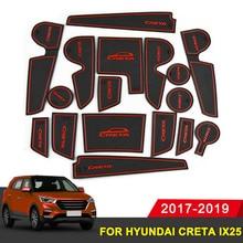 For hyundai creta ix25 2017-2019 rubber mat door mat anti-slip Cup pad Interior decoration accessory styling Gate slot pad цена