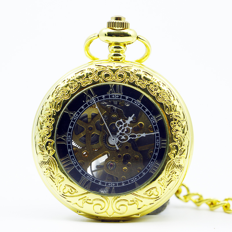 Luxury Gold Skeleton Mechanical Pocket Watches Men Antique Brand Hand Wind Pocket & Fob Watch Fob Chain PJX1207
