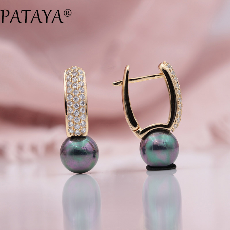 PATAYA New Multicolor Shell Pearls Micro-wax Inlay Natural Zircon Drop Earrings 585 Rose Gold Women Wedding Party Luxury Jewelry