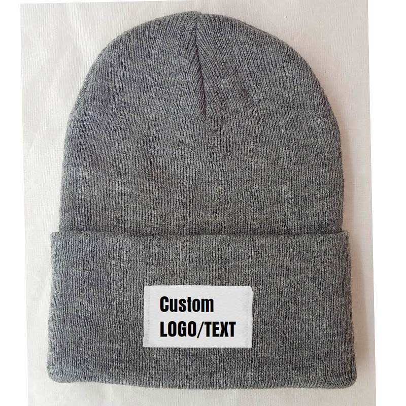 Free Custom Logo Name Beanies Adult Elastic Winter Warm Cap Printed Letter Patch Skullies Knitted Beanie Adult Size Apparel Hats
