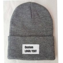1cc562701911b Free Custom Logo name beanies Adult Elastic Winter Warm cap Printed Letter  Patch Skullies Knitted Beanie