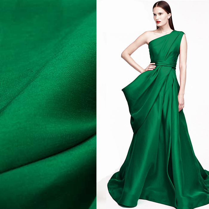 140CM Wide 32MM Solid Color Green Silk Linen Fabric For Spring And Autumn Dress Clothes Blouse DE420
