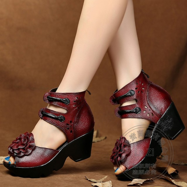 Caged Chinese National Middle Aged Full Grain Leather Pull On Women Shoes Peep Toe High Heels Pig Leather National Trend