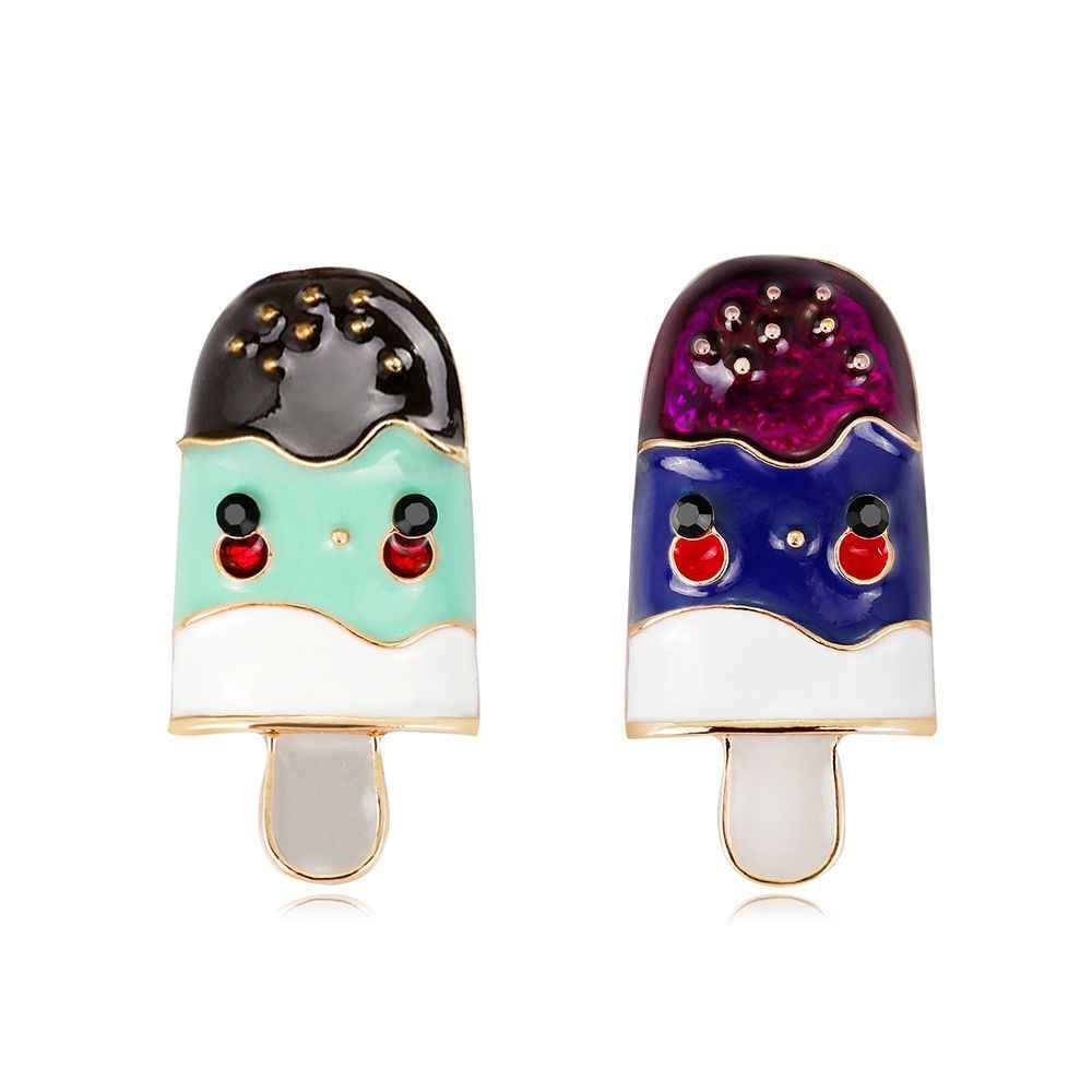 1 Pcs Fashion Wanita Logam Bros Korsase Lencana Perhiasan Ice Cream Bros Pin Syal Gesper Klip Brocade