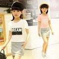 Coreia do sul Nova Desgaste do Verão de Algodão de Manga Curta Meninas Vestido de Princesa Crianças Roupas 4 Estilo