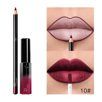 Nowy Pudaier 1pc długotrwała szminka w płynie + 1PC kredka do ust zestaw do makijażu wodoodporna matowa kredka do ust błyszczyk zestaw pomadki 33 tanie i dobre opinie Makeup Set 1xLip Gloss+1x Lip Liner