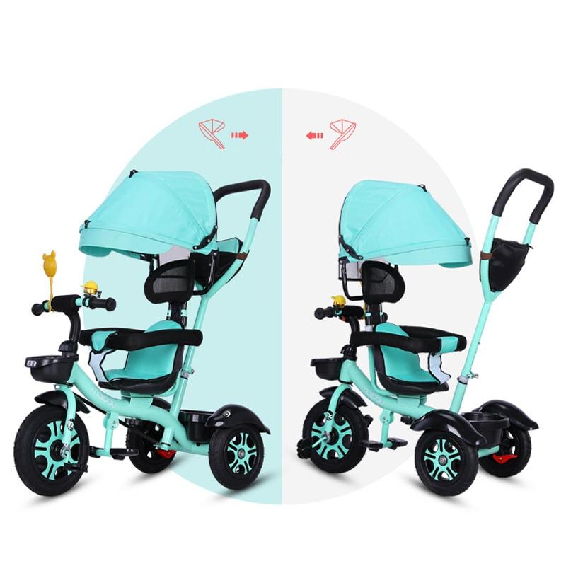 Siège pivotant bébé Tricycle vélo enfant vélo poussette 2 en 1 trois roues bébé chariot Portable enfant chariot landau Trike 6M-6Y - 4