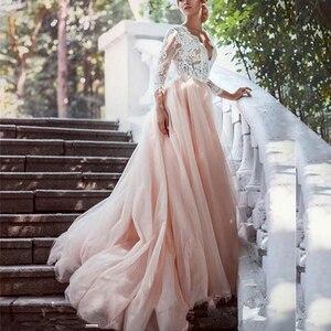 Image 1 - Sexy V hals Prinses Trouwjurken Lace Lange Mouwen Formele Bruidsjurken Met Applique Blush Roze Tulle Bruid Jurk 2020 Goedkope