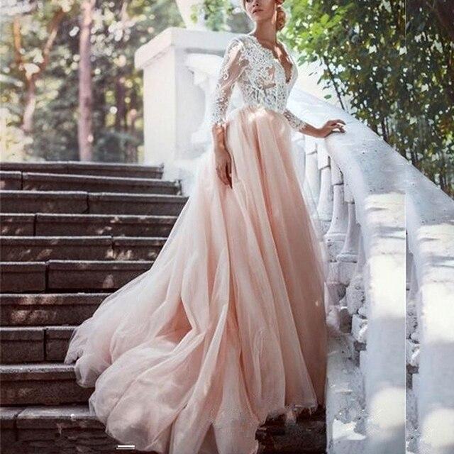 Sexy V hals Prinses Trouwjurken Lace Lange Mouwen Formele Bruidsjurken Met Applique Blush Roze Tulle Bruid Jurk 2020 Goedkope