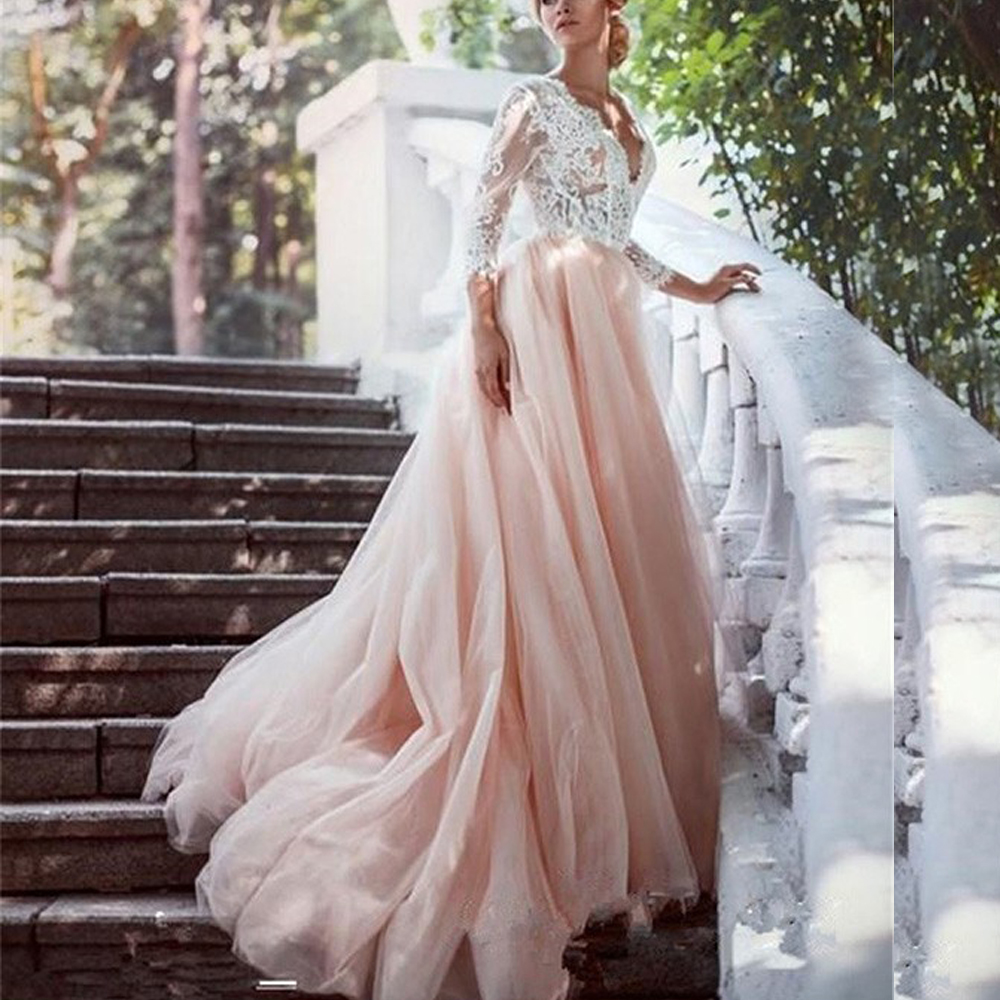 Sexy V-neck Princess Wedding Dresses Lace Long Sleeves Formal Bridal Gowns With Applique Blush Pink Tulle Bride Dress 2020 Cheap