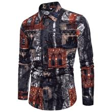 Flower Men Shirt Long sleeve Slim fit Hawaiian Mens clothing Casual Blouse Male Summer New