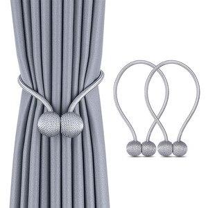 Image 1 - Neue Perle Magnetische Kugel Vorhang Einfache Krawatte Seil Rücken Holdbacks Schnalle Clips Zubehör Stangen Accessoires Haken Halter Home Decor