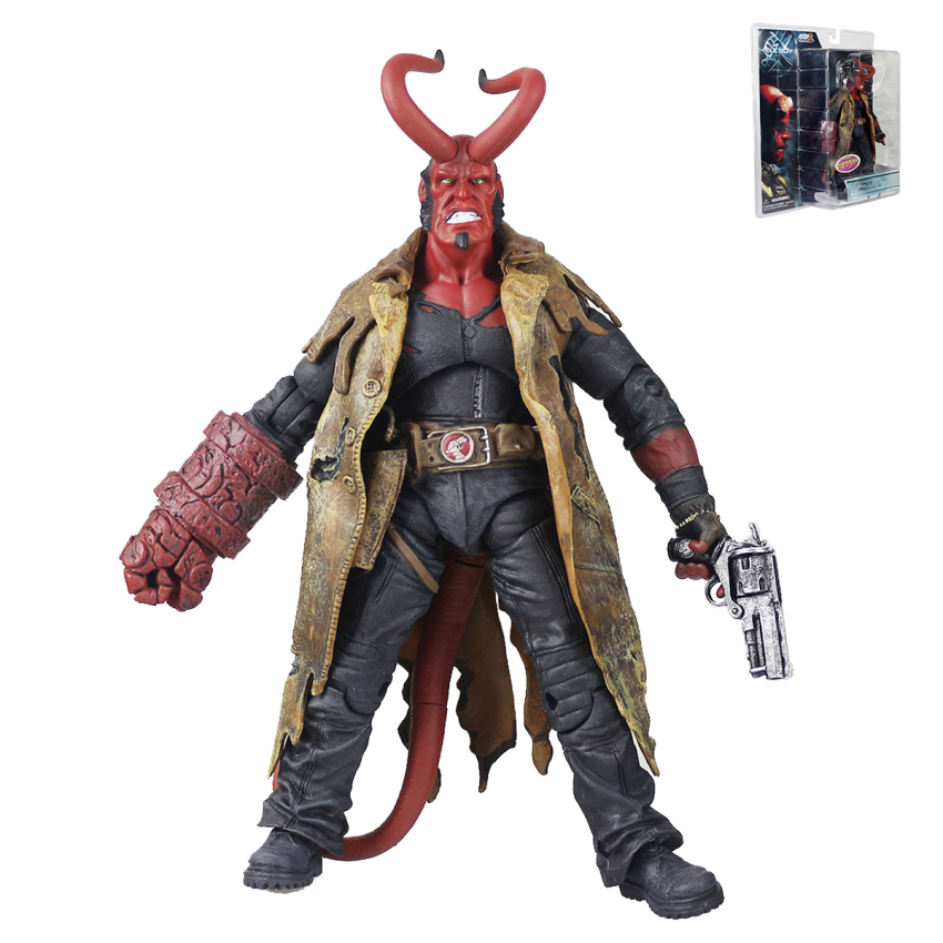Mezco Hellboy with Weapons PVC Action Figure Collectible Model Toy 8 20cm 20cm 7 hellboy action figure wounded hellboy includes samaritan handgun cool hb collectible model toy
