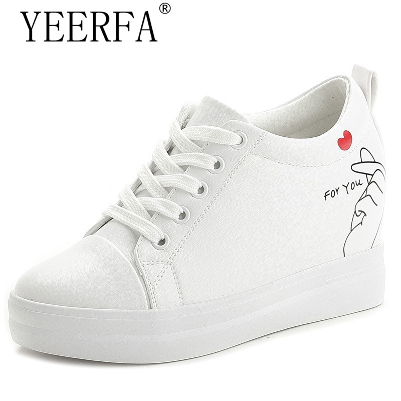 YIERFA New Arrival 2017 Women Casual Shoes Black White Wedge Platform Shoes High Heels Height Increasing Women Shoes size 34-40 цены онлайн