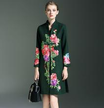 2016 new autumn and winter high quality Heavy peony flower embroidery coat stand collar long-sleeved woolen coat outwear T582
