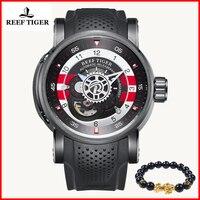 Reef Tiger брендовая люксовая дизайнерская Мужские часы Скелетон резиновые водонепроницаемые спортивные автоматические механические часы