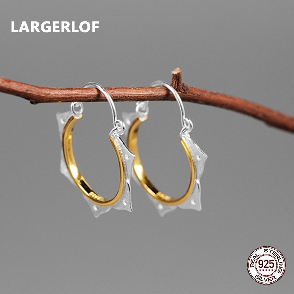 LARGERLOF Real 925 Silver Earrings Jewelry Hoop Feather Fine Jewelry Handmade Vintage Earrings For Women Eg491131 silver vintage flower pattern plain round hoop earrings