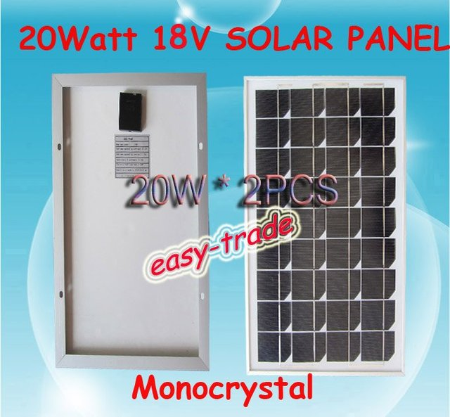40w(2*20w) 18V Solar Panel Module Charger 12V Battery-low price, free shipping, high efficiency, 2pieces/a lot