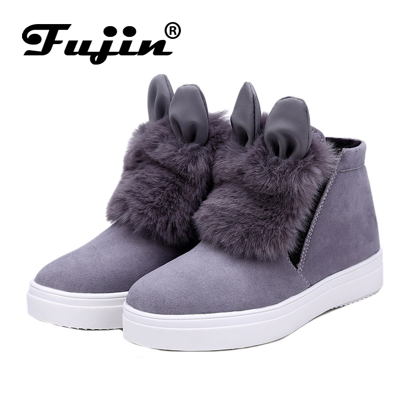 2017 spring autumn Fujin Woman Platform With Ears women winter shoes Boots plush slip on For Student Shoes Female Warm Bota fujin 3cm black grey women spring boots winter fashion women flats bow woman platform shoes slip on espadrilles shoes creepers