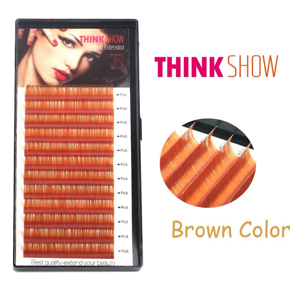Alle Størrelser 0.07mm Tykkelse C & D Curl Brown Eyelash Extension, Koreansk Silke Volume Øjenvipper 3D Individuelle Øjenvipper Farve Øjenvipper