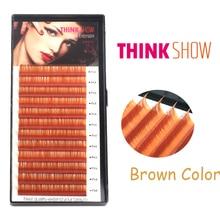 ФОТО all size 0.07mm thickness c&d curl brown eyelash extension silk volume false eye lashes extension color fake eyelash