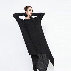Image 4 - [EAM] 2020 חדש אביב חורף גבוה צווארון ארוך שרוול שחור סדיר Hem Loose גדול גודל ארוך שמלת נשים אופנה גאות JG636