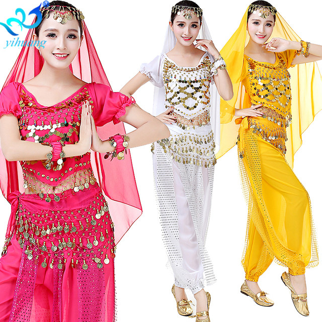 Belly Dance Costume 3pcs Top + Pants+Hip Scarf Suit Set Indian Show Oriental Bellydance Bollywood Halloween Outfits Chiffon  sc 1 st  Aliexpress & Online Shop Belly Dance Costume 3pcs Top + Pants+Hip Scarf Suit Set ...