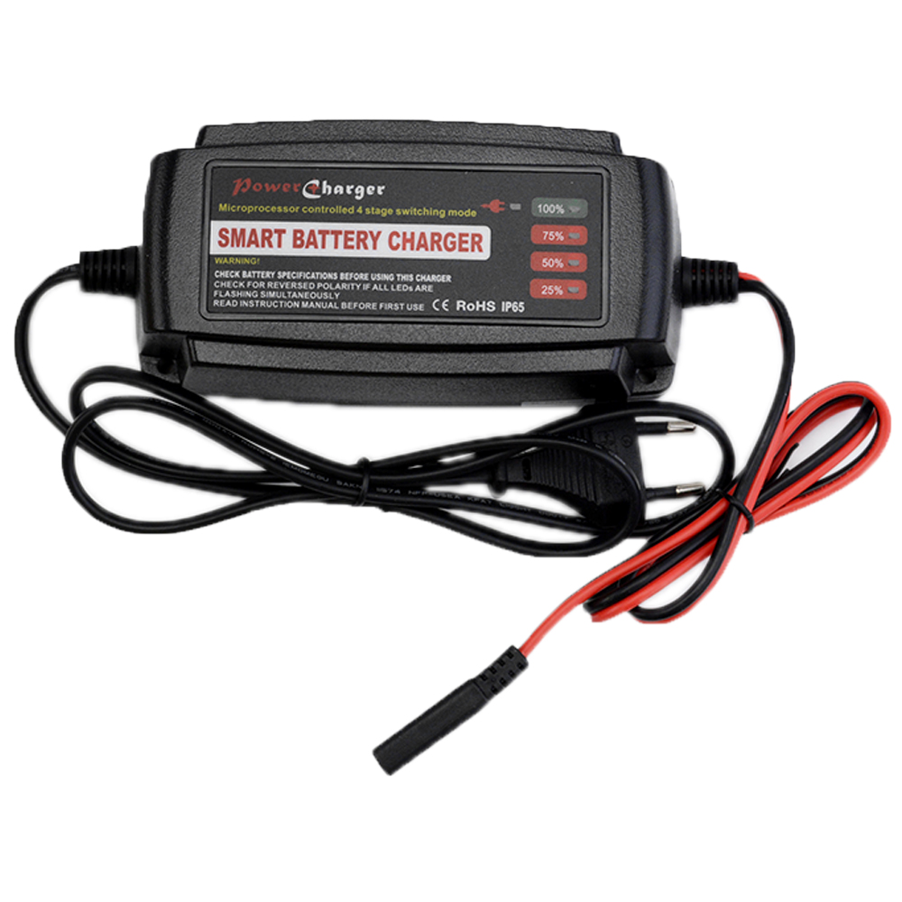 Smart 24V 3A Car Battery Charger 4-Stage Maintainer & Desulfator for Scooter Ebike Motorcycle AGM GEL WET Batteries 10-40AH