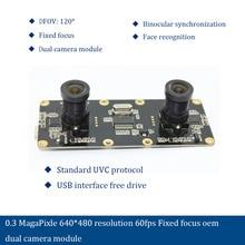 0.3 MagaPixle 640*480 resolution 60fps Fixed focus oem  dual camera module