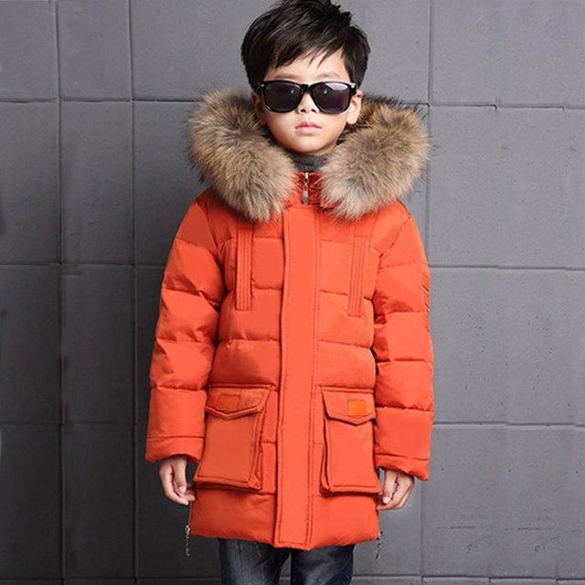 зимняя куртка для мальчика Зима ребенок мальчик Пух куртка-парка России зимняя куртка для мальчиков на утином пуху Пух куртка детская верхняя одежда теплое пальто пуховики и парки