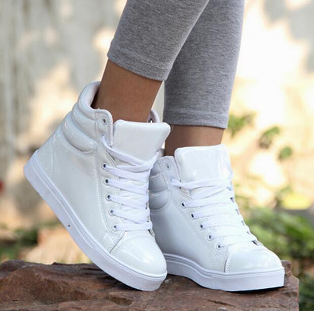 44a17fb41c87 Women Shoes Casual Fashion 2016 Patent Leather Hip-hop Justin Bieber High  Top Women Shoes Dancing Shoes Party Club Autumn Boots