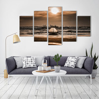 JERMYN New 5 Panel Sea Boat Wall Art Home Decoration Frameless Painting Canvas Prints Pictures Sunset